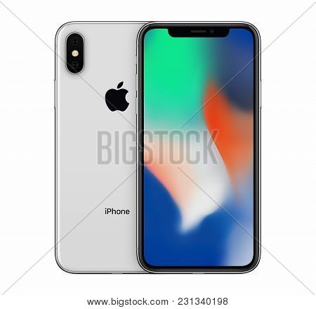 Varna, Bulgaria - January 23, 2018: Silver Apple Iphone X Mockup Front View With Blank Wallpaper Scr