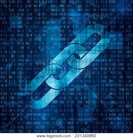 Chain Symbol. Blockchain Hyperlink Symbol On Binary Code. Abstract Blue Matrix Background. Number Bi