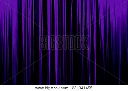 Purple Striped Curtain In Theater Elegant Texture Background. Ultraviolet Color Of The Year 2018