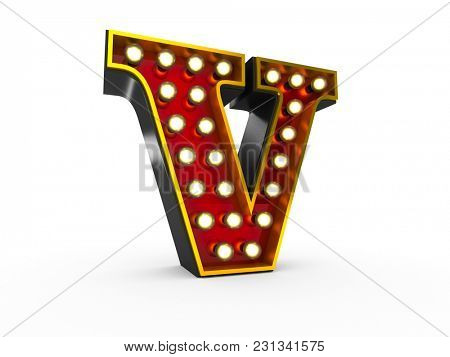 High quality 3D illustration of the letter V in Broadway style with light bulbs illuminating it over white background