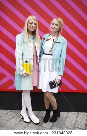 London, Uk - February 18: Blond Women In Blue Coats And Poses For Photographers  Outside Somerset Ho