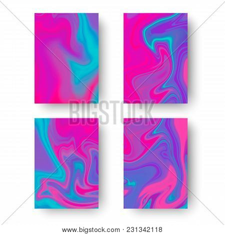 Iridesent Cover Templates. Fluid Colors Backgrounds Set. Holographic Effect. Vector Illustration