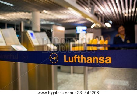 February 27 2018. Lufthansa Logo On A Retractable Queue Barrier At The Check-in Counters At The Airp