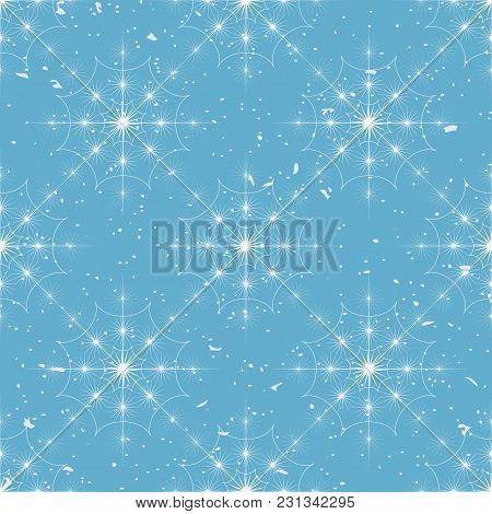 Snowflakes Seamless Pattern. Light Blue And White Background With Christmas Elements. Vector Illustr