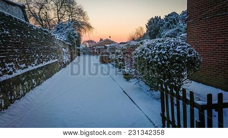 London, England -  February 2018 : Snow Covering Alleyway To The Properties In The Early Morning In