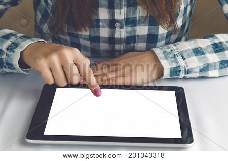 Electronic Menu Template. Online Food Order. Tablet Computer With Blank Screen In Female Hands. Stud