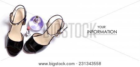 Black Female Shoes Sandals And Parfume Pattern On A White Background Isolation