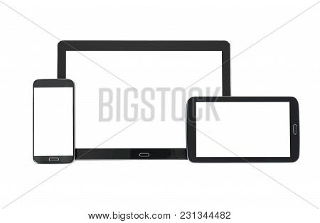 Concept Of Multi Device Technology Mockup For Responsive Design Presentation - Digital Tablet And Sm