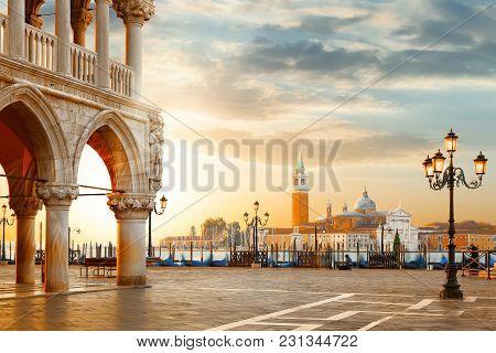 Venice Postcard. World Famous Venice Landmarks. St. Mark's San Marco Square With San Giorgio Maggior