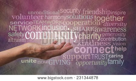 Get Involved With Your Community Word Tag Cloud - Female Open Palm Hand Against Rustic Stone Effect