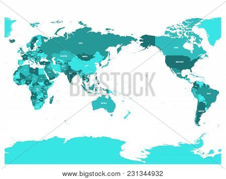 World Map In Four Shades Of Turquoise Blue On White Background. High Detail Pacific Centered Politic