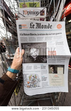 Paris, France - Mar 15, 2018: French Le Monde Newspaper With Portrait Of Stephen Hawking The English