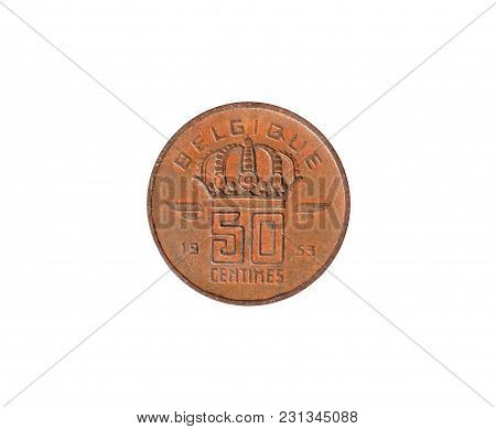 Reverse Of 50 Centimes Coin Made By Belgium In 1953