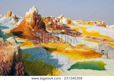 Yellow Sulfuric Volcanoes Emitting Toxic Gas Clouds, Sulfur Deposits White And Green Colors Danakil