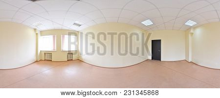 Spherical 360 Degrees Panorama Projection, Panorama In Interior Empty Room In Modern Flat Apartments