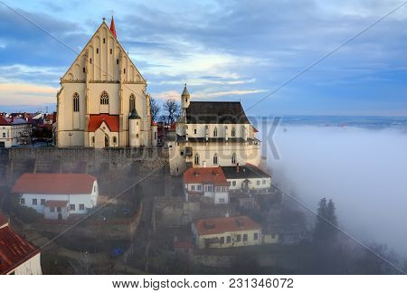 Aerial View Of The Old Town Of Znojmo With St. Nicholas Church And St. Wenceslas Chapel, Built On Th