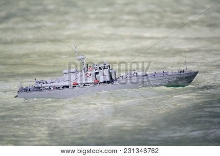 Model Of The Torpedo Boat Floats In The Basin. Ship Modeling