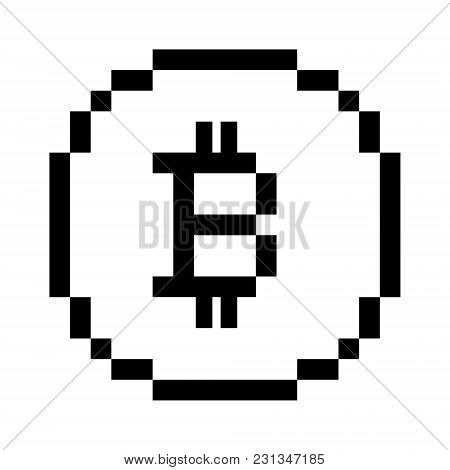 Vector 8 Bit Pixel Art Bitcoin Icon. Black And White Concept Of Cryptocurrency.