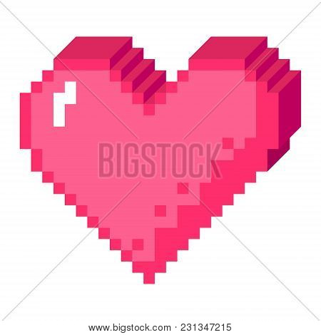 Vector 8bit Pixel Art Heart In 3d Perspective Icon. Pink Love Sign Made Of Cubes