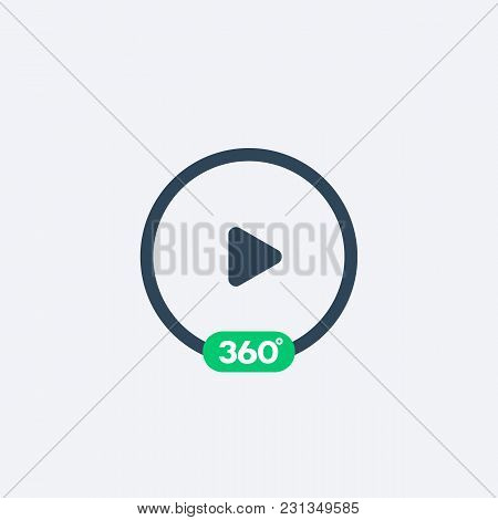 360 Degrees Video Play Icon, Eps 10 File, Easy To Edit