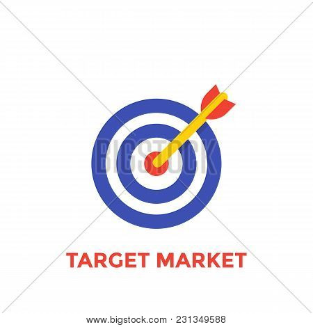 Arrow In Center Of Target Icon, Target Market Symbol, Eps 10 File, Easy To Edit