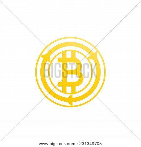 Bitcoin Exchange Icon On White, Eps 10 File, Easy To Edit