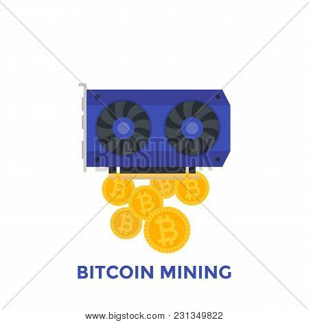 Bitcoin Mining Vector Illustration, Eps 10 File, Easy To Edit