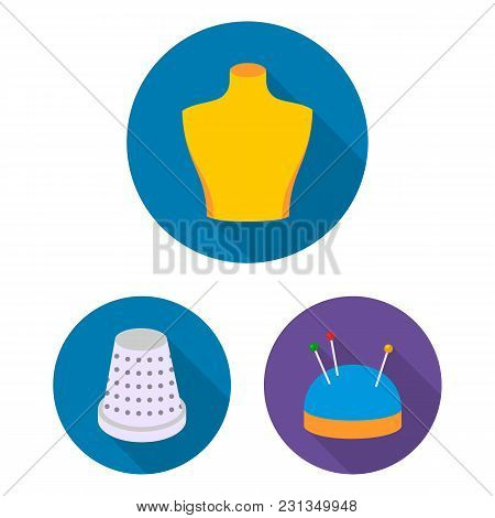 Atelier And Sewing Flat Icons In Set Collection For Design. Equipment And Tools For Sewing Vector Sy