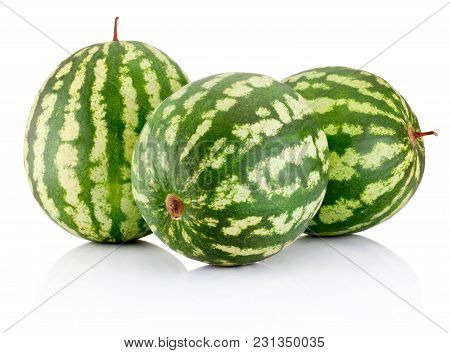 Three Ripe Watermelons Berry Isolated On White Background