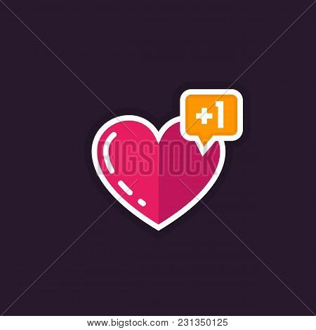 Heart Like With Notification Vector Icon, Eps 10 File, Easy To Edit