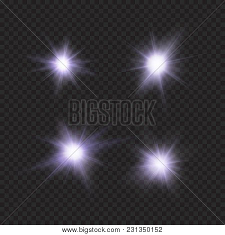 Flares, Sparkles, Stars, Violet Vector Light Effects, Eps 10 File, Easy To Edit