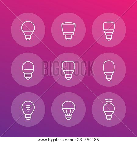 Led Light Bulbs Icons, Linear, Eps 10 File, Easy To Edit