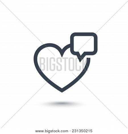 Heart Like With Notification Line Icon On White, Eps 10 File, Easy To Edit