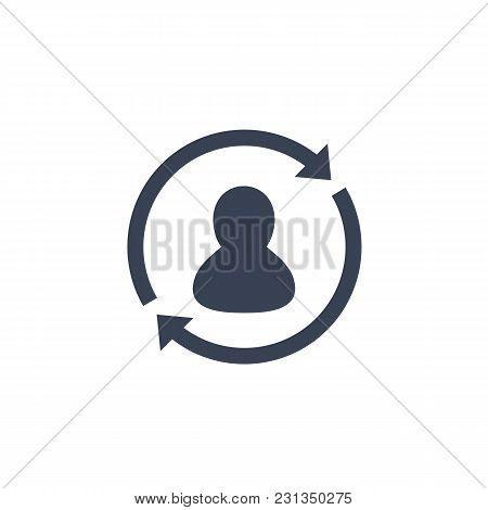 Returning Customer Icon On White, Eps 10 File, Easy To Edit