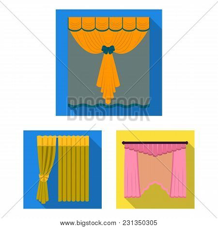 Different Kinds Of Curtains Flat Icons In Set Collection For Design. Curtains And Lambrequins Vector