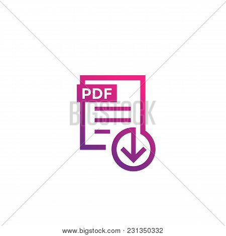 Pdf File Download Icon On White, Eps 10 File, Easy To Edit