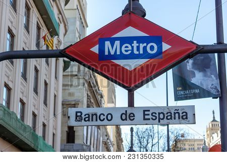 Madrid, Spain - January 21, 2018: Metro Station Bank Of Spain (banco De Espana) At Alcala Street In