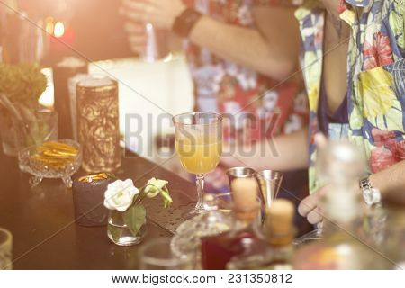 Barman Is Making Cocktails During The Party