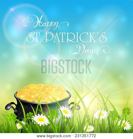Patricks Day And Gold Of Leprechaun In Grass On Sky Background