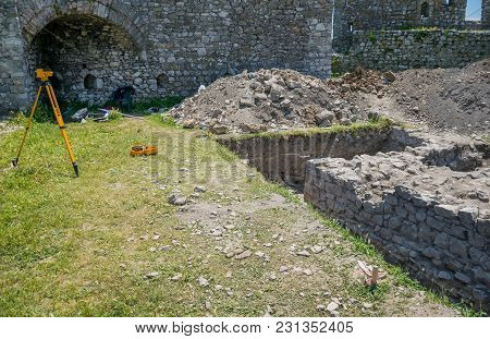 Scientific Excavations Are Conducted On The Territory Of The Medieval Fortress.