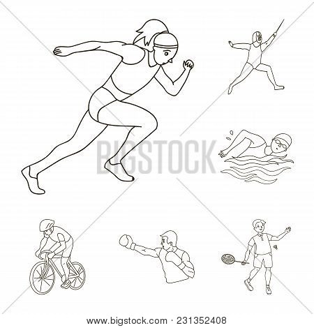 Different Kinds Of Sports Outline Icons In Set Collection For Design. Athlete, Competitions Vector S
