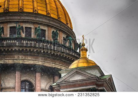 The Dome Of St. Isaac's Cathedral. Holy Temple In The City Center. Russia, Saint-petersburg.