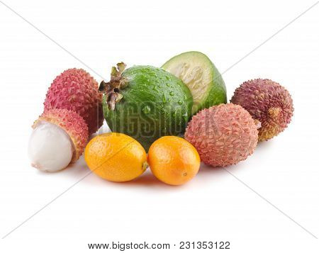 Fresh Exotic Fruits Flat Lay On A White Background. Feijoa Marin Plum Lichee