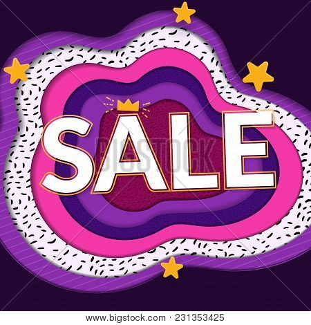 Sale Papercut Banner. Big Word On Bright Paper Background. Violet, Purple And Yellow Colors