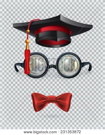 Square Academic Cap, Mortarboard, Glasses And Bow Tie. 3d Vector Icon Set