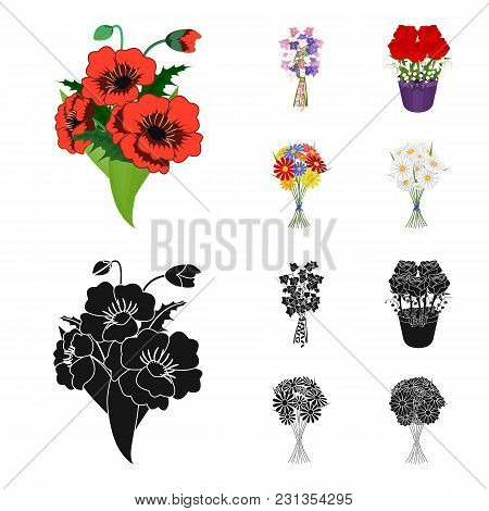 A Bouquet Of Fresh Flowers Cartoon, Black Icons In Set Collection For Design. Various Bouquets Vecto