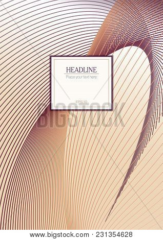 Cover Layout Of Line Art Design. Abstract Wavy Background In Purple, Orange Hues. Futuristic Templat