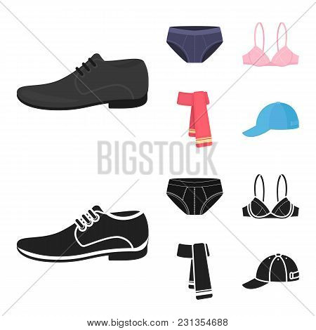 Male Shoes, Bra, Panties, Scarf, Leather. Clothing Set Collection Icons In Cartoon, Black Style Vect