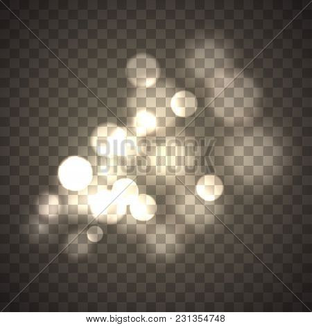 Abstract Circle Bokeh Effect Isolated On Transparent Background. Round Defocused Sun Glare. Magical
