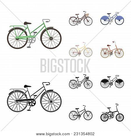Sports Bike And Other Types.different Bicycles Set Collection Icons In Cartoon, Black Style Vector S